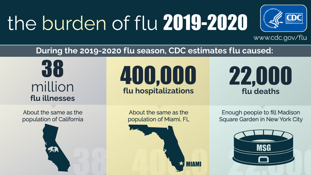 Statistics on the Flu 2019-2020 season from the CDC.